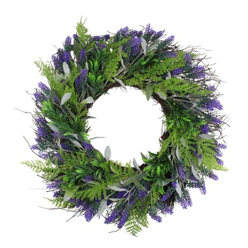 Northlight Lavender and Leaves Artificial Spring Wreath, Purple and Green 24-Inch - image 1 of 3