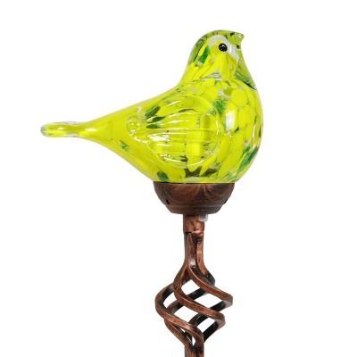 """31"""" Solar Resin/Glass Bird Finial Garden Stake Yellow - Exhart"""