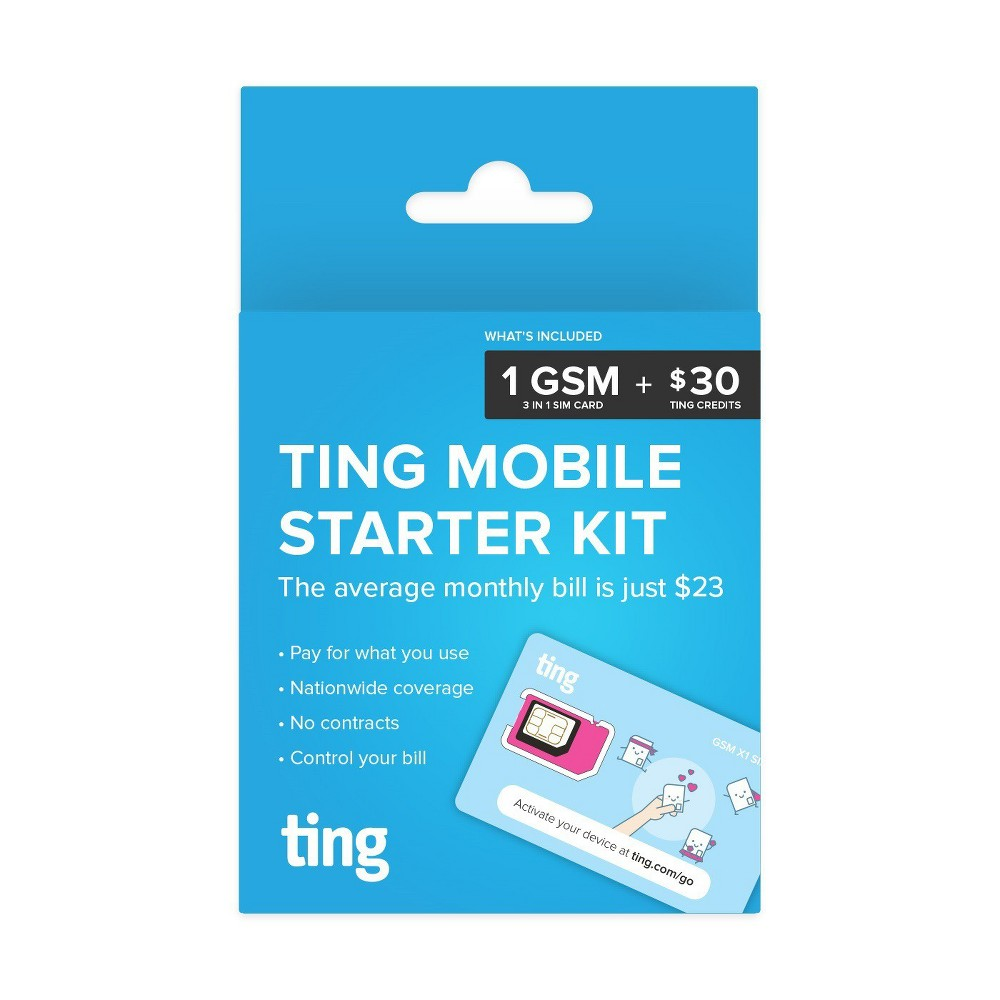 Ting Gsm Sim Card Kit for Unlocked Cell Phones, Blue