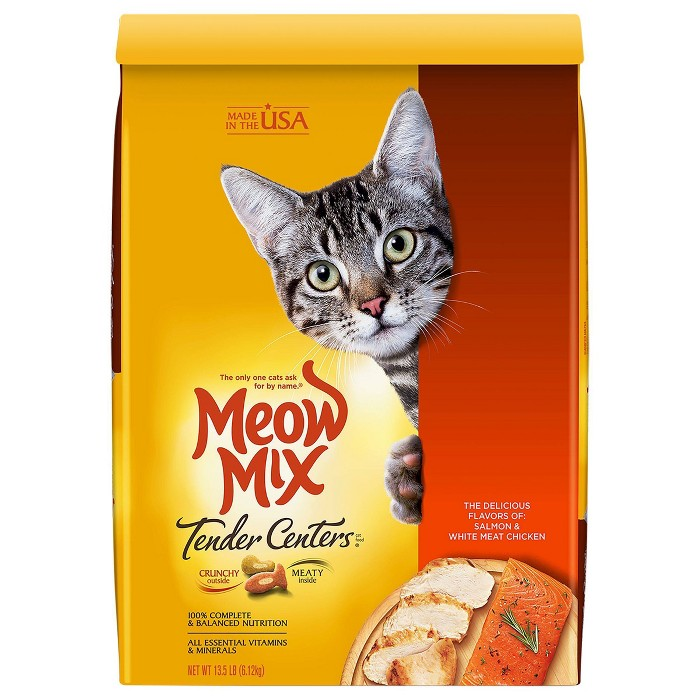 Meow Mix Tender Centers With Flavors Of Salmon & Chicken Adult Complete & Balanced Dry Cat Food : Target