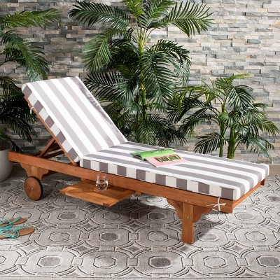 Newport Chaise Lounge Chair With Side Table - Natural/Gray/White - Safavieh