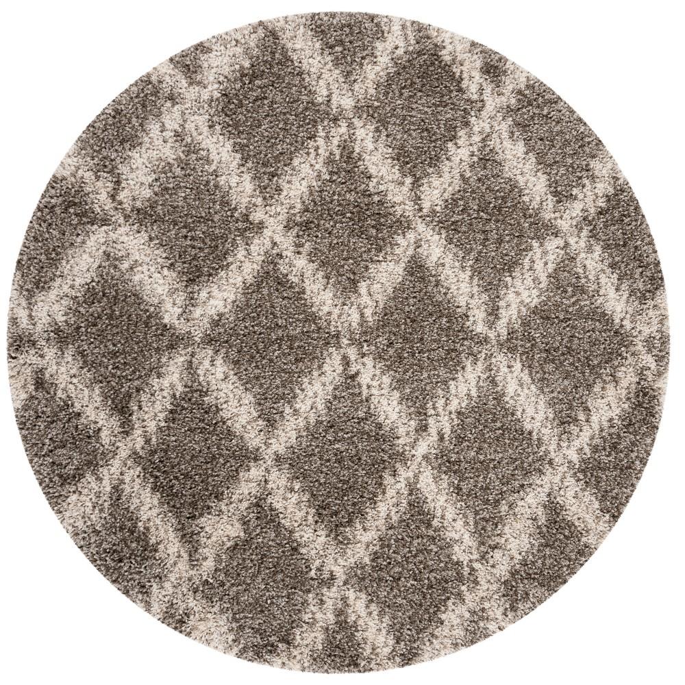 7' Geometric Loomed Round Area Rug Gray/Ivory - Safavieh