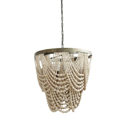 Metal Chandelier with Draped Wood Beads White - 3R Studios