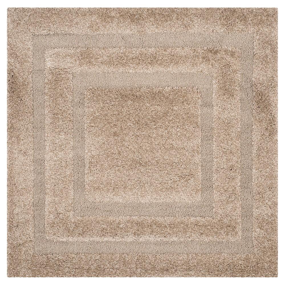 Beige Abstract Shag/Flokati Loomed Square Area Rug - (6'7