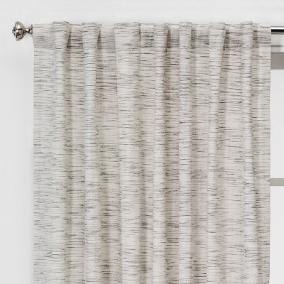 84 x54  Light Filtering Striation Herringbone Window Curtain Panel White/Gray - Project 62™