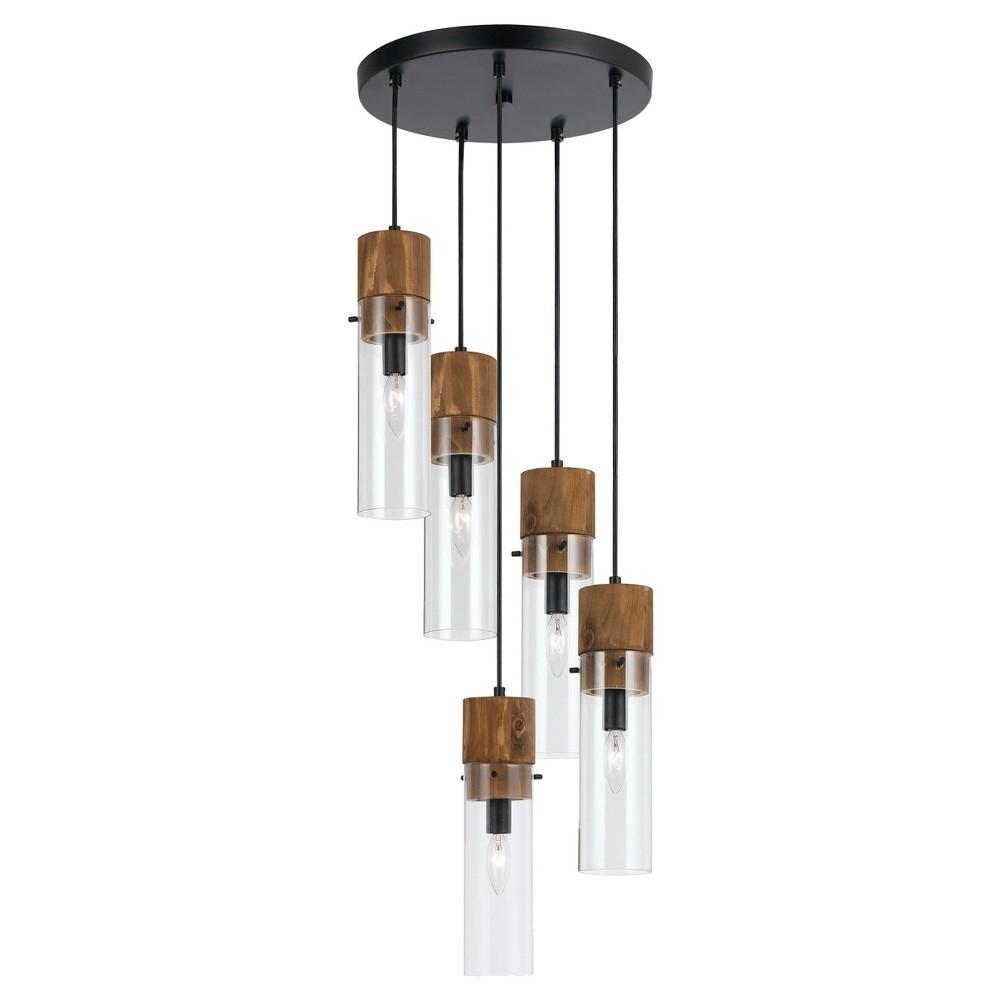 Cal Lighting Spheroid Glass & Wood 5 light Chandelier, Black
