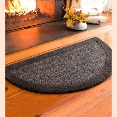 Plow & Hearth - Madrid Banded Half-Round Hearth Fireproof Rug, 2' x 4'