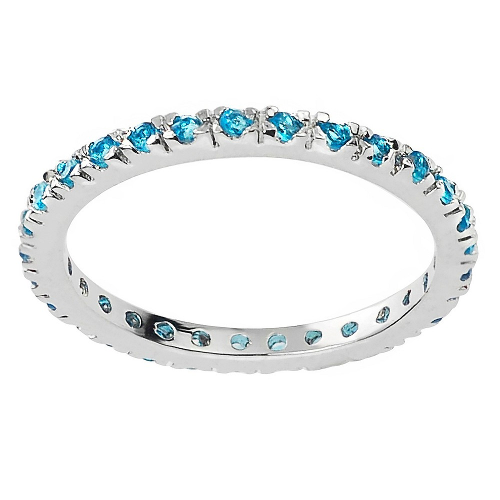 1/4 CT. T.W. Round-cut CZ Eternity Prong-set Ring in Sterling Silver - Blue, 7, Girl's