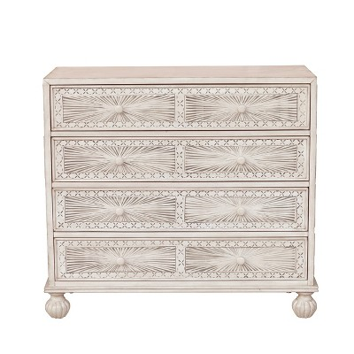 Traditional Grey Hand Painted Four Drawer Accent Storage Chest   Grey    Pulaski