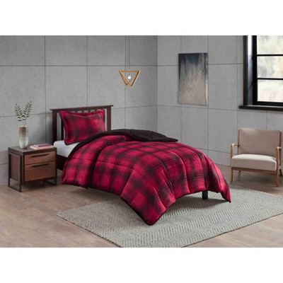 Full/Queen Plaid to Sherpa Corbin Comforter & Sham Set Red