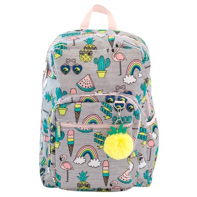 Yoobi™ Standard Backpack 2.0 with Pom Pom Keychain - Pineapple/Vibes