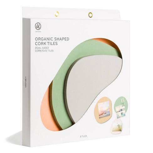 U-Brands 3pk Organic Shaped Double-Sided Cork Tiles - image 1 of 4