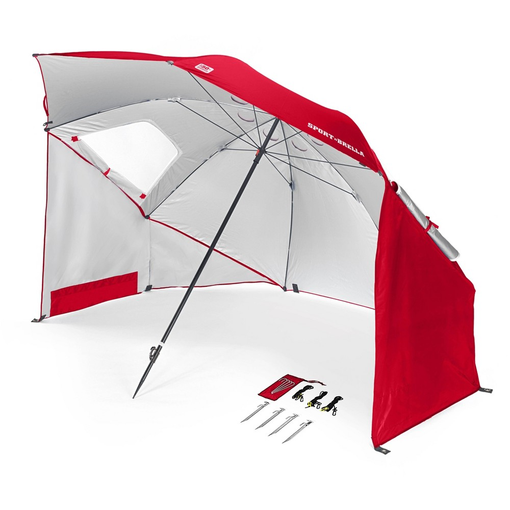 Sport-Brella Portable Sun and Weather Shelter - Firebrick Red The Sport-Brella is the original portable sun and weather shelter with all the features you need to enjoy your time outside. Whether you are on the sidelines, at the beach, or having fun just about anywhere, there is no easier, more convenient or effective protection available. Canopy supported by 4.5 mm steel ribs and a 5mm steel stretcher. Telescoping pole with a reinforced tip held in place by a locking mechanism. Dual canopy with top wind vents and strong, side zippered windows for efficient airflow. Durable internal pockets for stakes, valuables and gear. Color: Firebrick Red.