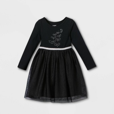 Toddler Girls' Adaptive Abdominal Access Halloween Dress - Cat & Jack™ Black