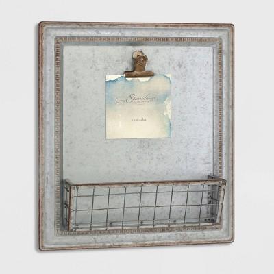 "15.2"" x 13.2"" Rustic Galvanized Metal Magnetic Memo Board Silver - Stonebriar Collection"