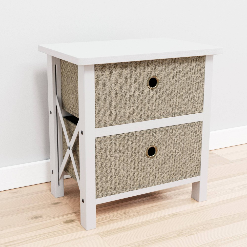 Two Drawer 160 Fabric Storage 160 Chest White Oat Brookside Home