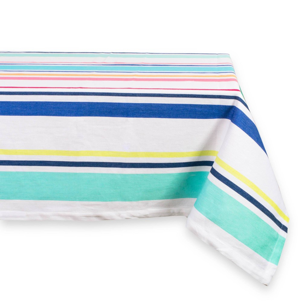 "Image of ""84""""X64"""" Beachy Keen Stripe Tablecloth Aqua - Design Imports, Yellow Pink Blue"""