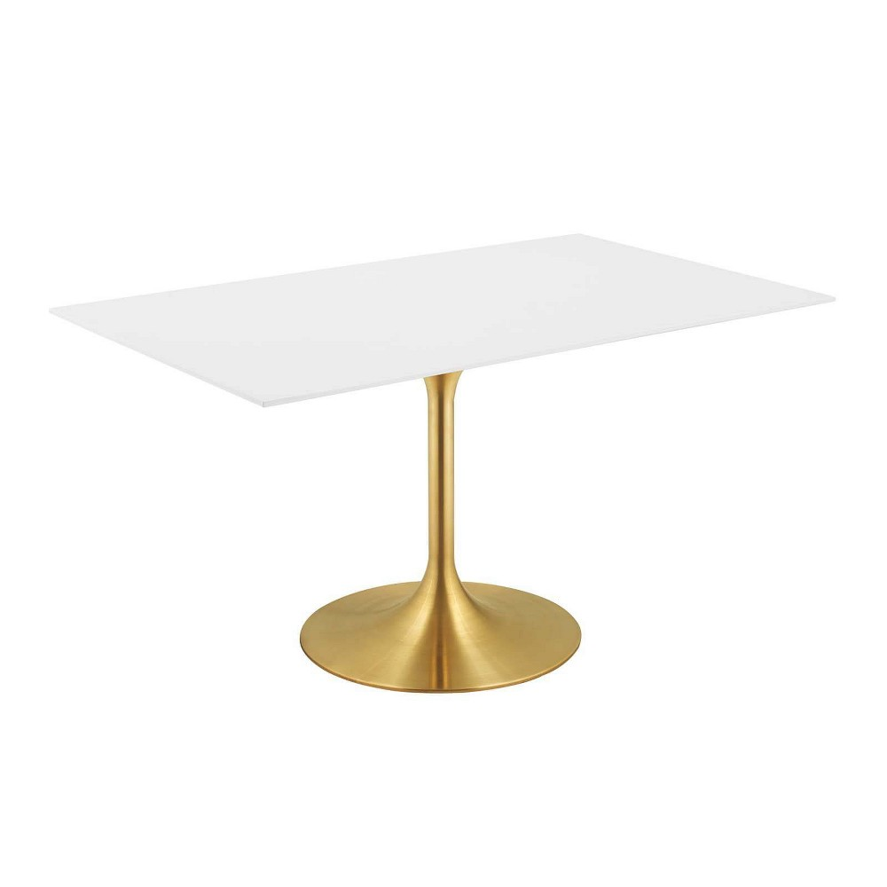 60 Lippa Rectangle Dining Table Gold White - Modway