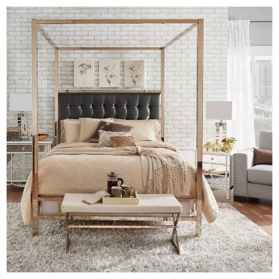Manhattan Champagne Gold Canopy Bed   King   Black   Inspire Q