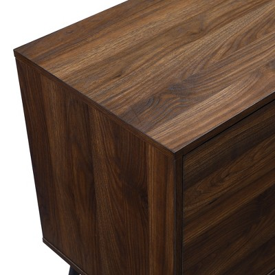 """Glass And Wood Mid-Century Modern Storage Console TV Stand For TVs Up To 65"""" - Saracina Home : Target"""