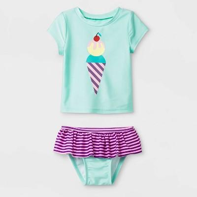 Baby Girls' Short Sleeve Ice Cream Rash Guard Set - Cat & Jack™ Green 9M