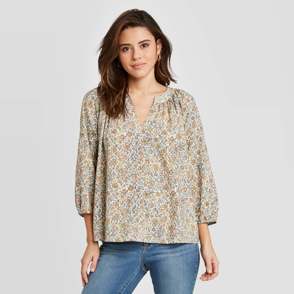 Women's Floral Print Long Sleeve V-Neck Shirt - Universal Thread L, MultiColored was $24.99 now $17.49 (30.0% off)