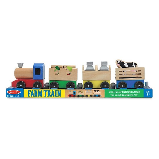 Melissa & Doug Wooden Farm Train Set - Classic Wooden Toy (3 linking cars) image number null