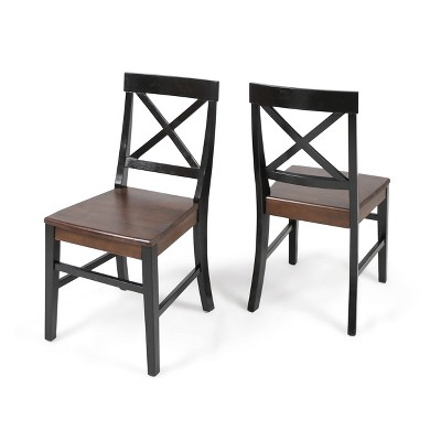 Set of 2 Roshan Farmhouse Acacia Dining Chairs Walnut/Black - Christopher Knight Home