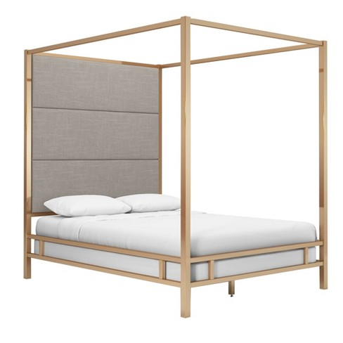 Queen Evert Champagne Gold Canopy Bed With Panel Headboard Smoke