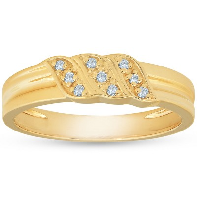 Pompeii3 Mens 10k Yellow Gold Diamond Ring Anniversary Wedding Band