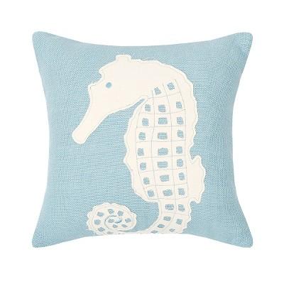 "C&F Home 18"" x 18"" Seahorse Burlap Applique Pillow"