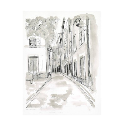 "18"" x 24"" June Erica Vess 'European City Sketch IV' Unframed Canvas Art - Trademark Fine Art"