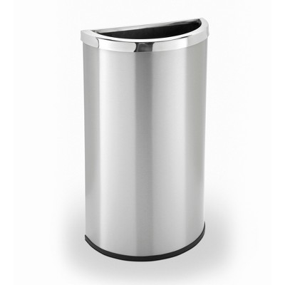 Commercial Zone 780929 Compact 8 Gallon Half Moon Design Heavy Duty Trash Can Waste Bin Container, Stainless Steel, Silver