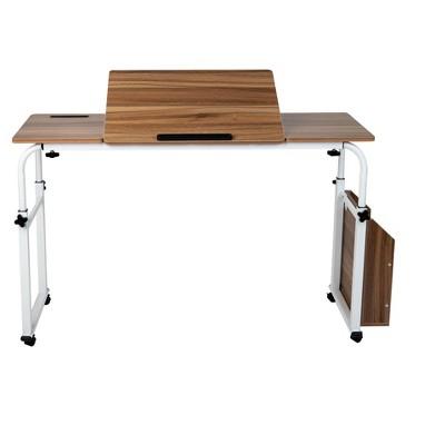 Mind Reader Over Bed Table Desk White, Wood Finish