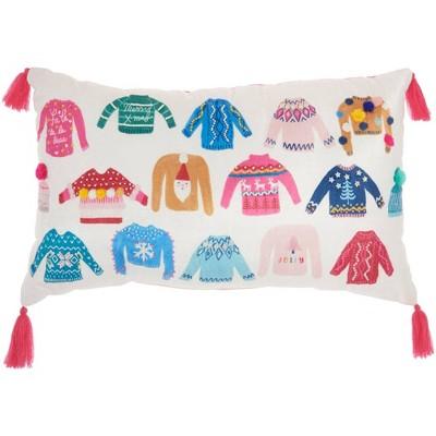 """12""""x20"""" Xmas Sweaters Christmas Throw Pillow Multi - Mina Victory"""