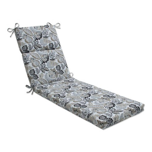 """72.5"""" x 21"""" Outdoor/Indoor Chaise Lounge Cushion Dailey Pewter Black - Pillow Perfect - image 1 of 1"""