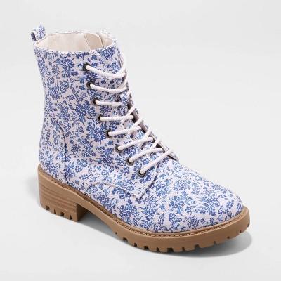 Women's Kamryn Floral Combat Boots - Universal Thread™ Blue