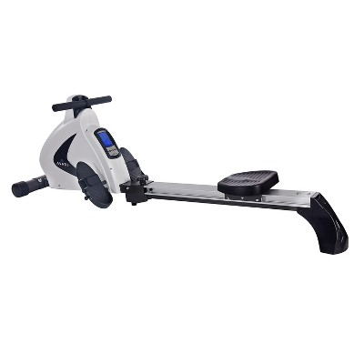 Stamina Products Avari 12 Programmable Cardio Exercise Monitor Magnetic Rower Machine with LCD Display and Heart Rate Tracker, White