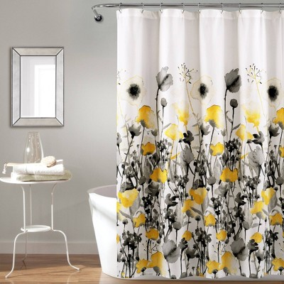 Zuri Flora Shower Curtain Yellow/Gray - Lush Décor