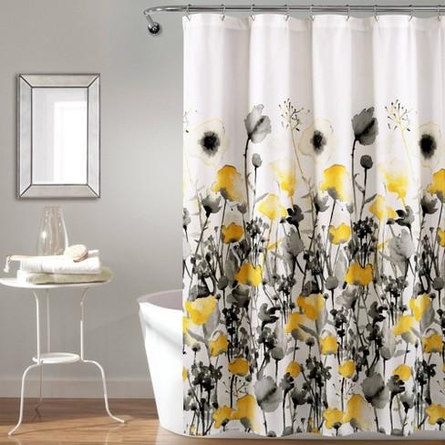 Zuri Flora Shower Curtain Yellow Gray, Gray White And Yellow Shower Curtains