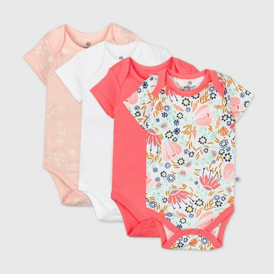 Honest Baby Girls' 4pk Organic Cotton Short Sleeve Bodysuit - Newborn