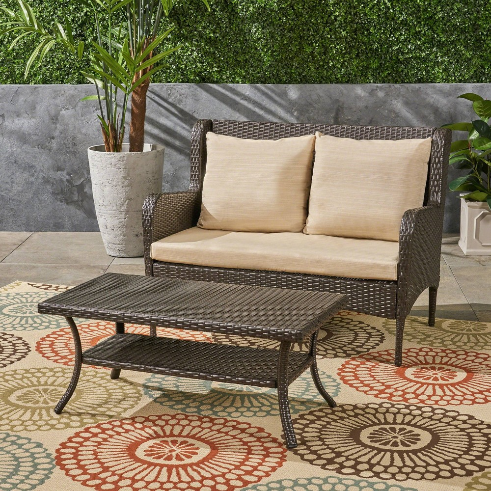 Adelaide 2pc Wicker Loveseat & Patio Coffee Table Set - Brown/Beige - Christopher Knight Home