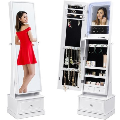 Best Choice Products 360 Swivel Standing Mirrored Jewelry Cabinet, LED-Lit Makeup Organizer w/ Mirror - White
