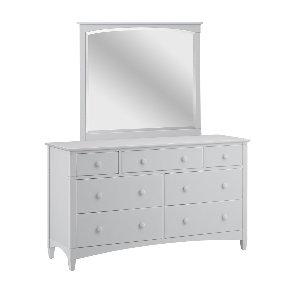 Essex 7 Drawer Dresser Dove Gray With Framed Wood Mirror - Bolton Furniture