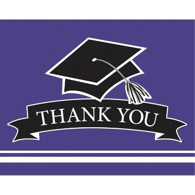 50ct Graduation School Spirit Purple Thank You Notes