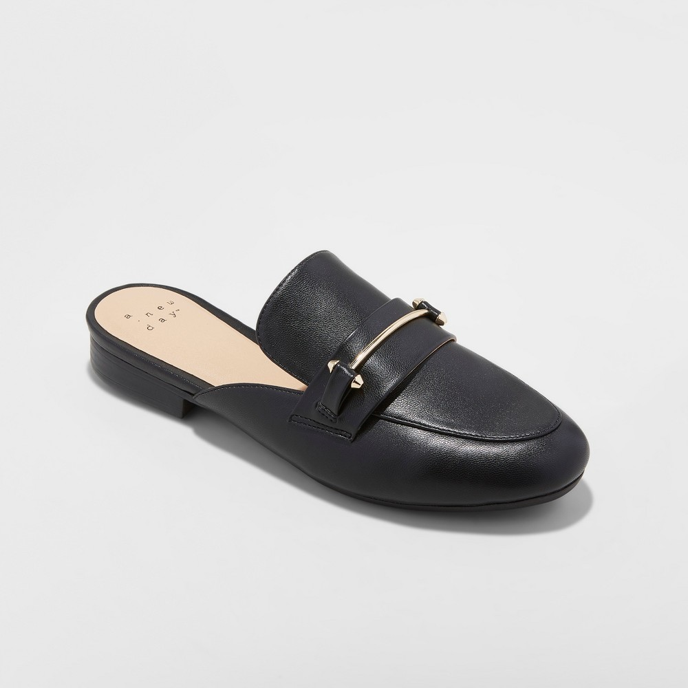 Women's Remmy Backless Loafers - A New Day Black 5