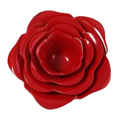 Zak Designs Table Art Red Flower 4 Piece Serving Set