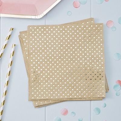 20ct Polka Dot Kraft Paper Napkins Gold