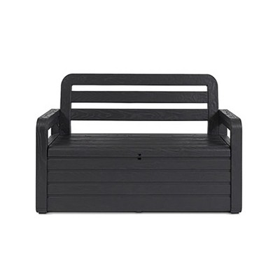 Toomax Foreverspring UV Weather Resistant Lockable Box Chest Bench for Outdoor Pool Patio Furniture and Deck Storage Bin, 70 Gallon (Anthracite)