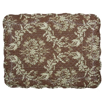 "C&F Home Addison Brown Damask Cotton Quilted Rectangular Reversible  13"" x 19 Placemat Set of 6"